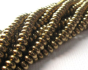 Czech Beads Shiny Bronze 4mm Glass Rondelle Beads (100)