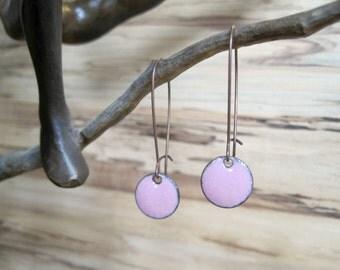 Pink Dangle Earrings, Clover Pink Drop Earrings, Soft Pink Earrings, Copper Enamel Jewelry, Nickel Free Kidney Earwires, Handmade Earrings