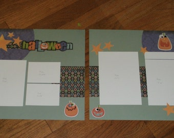 Halloween pre-made 12x12 scrapbooking layout pages