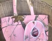 Pink Realtree Camo Bag & Baby Bib - Personalized / Monogrammed