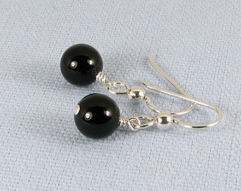 Bold black Onyx and Sterling Silver Earrings