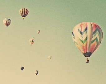 Vintage style photography  Hot Air Balloon Photo Landscape Photograph Balloon Photography