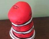 3D Red & White Cat in a Hat inspired cake topper