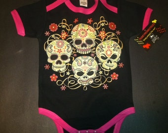 NWT black and hot pink infant bodysuit  of 4 day of the dead skulls