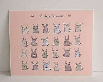 I love bunnies  - print  - ink illustration - digital -   - 10.6 x 13.8 inches