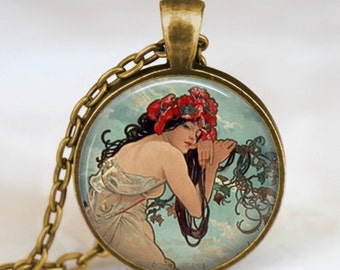 Art Nouveau necklace, alphonse mucha necklace, young woman flower halo , art pendant , alphonse mucha pendant with chain and gift bag