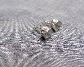 Silver shark vertebrae ear studs