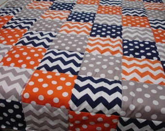 Chevrons and Dots in Navy Orange and Gray Minky Blanket You Choose Size and Minky Color MADE TO ORDER No Batting