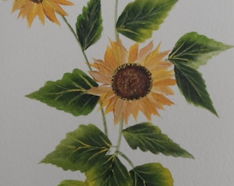 Painted Sunflower Card Hand Painted Sunflower Card