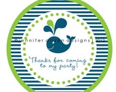 Whale Theme Party round sticker label / cupcake topper / thank you tags for birthday party, baby shower, PERSONALIZED