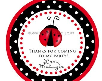 Ladybug Theme Party Baby Shower Thank You PERSONALIZED Stickers, Tags, Labels, or Cupcake Toppers, various sizes, printed & shipped