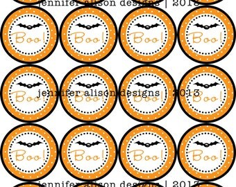 """INSTANT DOWNLOAD / Halloween Bat 2"""" printable Party Circles / Cupcake Topper / Stickers / Thank You Tags"""
