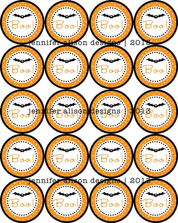 "INSTANT DOWNLOAD / Halloween Bat 2"" printable Party Circles / Cupcake Topper / Stickers / Thank You Tags"