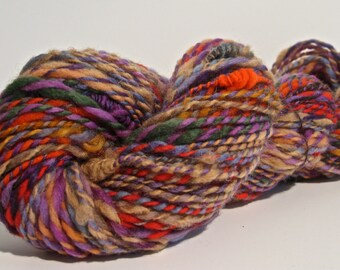 Handspun Art Yarn. Aran - Bulky Weight. 134 yards of Foxy Hexad