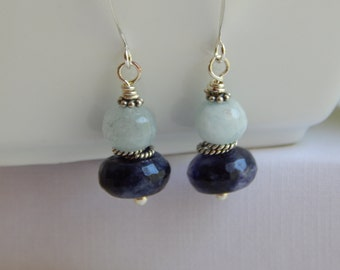 Faceted Sodalite, Faceted Aquamarine, Antique Sterling Silver, Wire Wrapped, Silver Ear Hooks