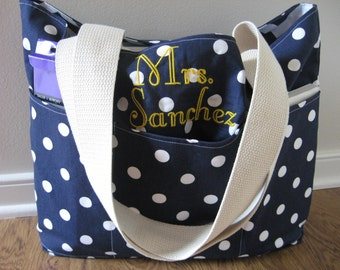 Teacher Bag - Teacher Tote - REVERSIBLE Tote - Monogrammed Tote - Teacher Gifts - Gift for Teacher - Large Teacher Tote - Tote With Pockets