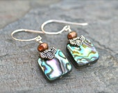 Square Abalone Shell Sterling Silver Handmade Earrings, Paua Shell, Abalone Earrings