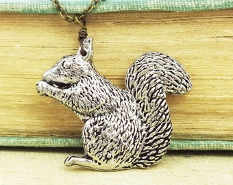 Squirrel Necklace. Antiqued Pewter and Antiqued Bronze Chain Necklace Pendant.