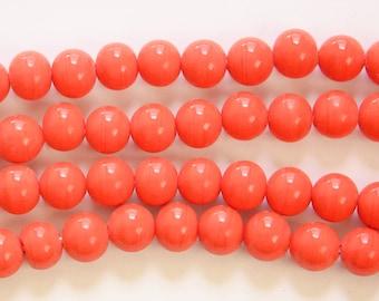 Vintage Dark Coral Glass Beads Japan 8mm (8) jpn003E