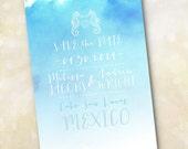 Wedding Invitation or Save the Date Design Fee (Aqua Ombre Watercolor Seahorse Design)