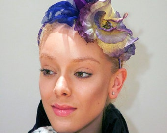 Purple and yellow fascinator with Swarovski crystal embroidery