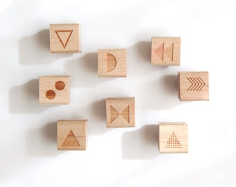 Mix and Match 8 Mini Geometric Shapes Rubber Stamps (Wood Mounted) Original Abstract Designs for Scrapbooking or Wedding Favors, Mini Duos
