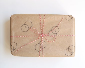 Hexagon Rubber Stamp (Wood Mounted) 1 inch Geometric Shape with optional wooden handle, Petites Collection (SP610) Stocking Stuffer DIY Wrap