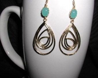 Dangle Gold Plated Large Teardrop Earrings with Mint Glass Stone, Wedding, Dangle