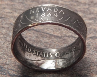 Coin Ring Nevada made from a Copper Nickel Quarter Statehood jewelry great unique gift