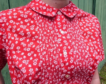 Red Tiny Print Top with Pocket, size small to medium