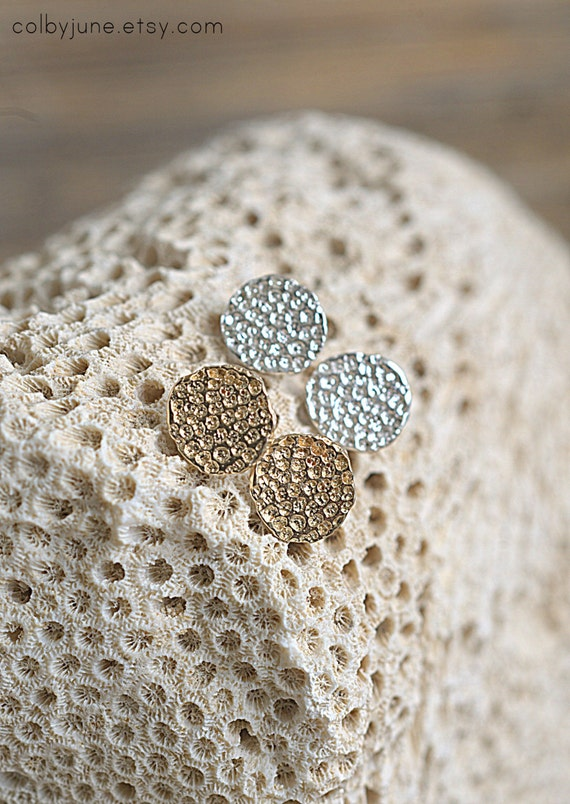 Silver Round Coral Studs | Silver Earrings | Nature Inspired