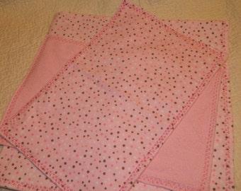 pink and brown polkadot receiving blanket and burp cloth set