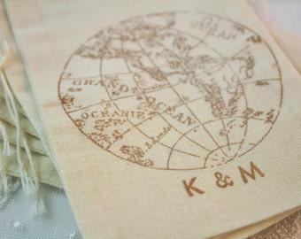 Globe Favor Bags Wedding Personalized Wedding Bags Muslin Initials SET OF 10