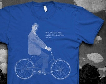 HG Wells Bike quote Tshirt Mens Softstyle color t-shirt