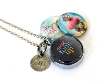 Just Look Up Locket Necklace - Silver, Magnetic, Cute Creatures, Upcycled Locket by Polarity - Cuddly Rigor Mortis Collection