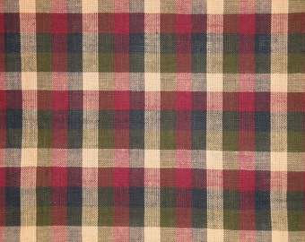 Homespun Fabric Navy Olive Wine And Tea Dye Large Check 1 Yard