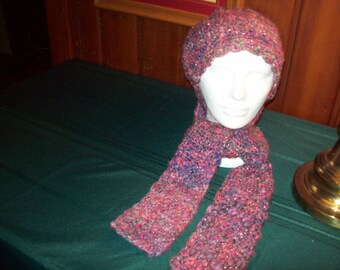 Shades of plum/purple crocheted hat and scarf set