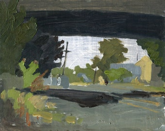 Under the Tracks, Eugene, Oregon: Original Oil Painting Urban Plein Air Landscape