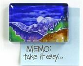"Nature Art Glass Paperweight/  Mountain Moonrise ""Meditation Stone"" by Susan Faye"