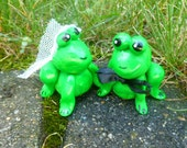 Frog Wedding Couple Cake Topper Mini Marble Friends Set of Two in Lime and Green Swirl Bride and Groom
