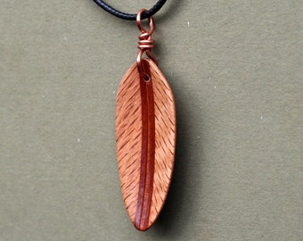 Handcarved Red Oak, Brazilian Redwood and Mahogany  Wood Leaf / Feather Pendant