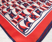 Vintage Square Scarf - Nautical Flags - Red White and Blue -