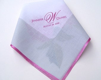 Wedding Hankerchief with Custom Monogram and Peony Flowers, Pink And Mint, Mother Of The Bride