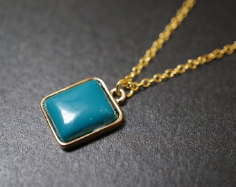 Vintage Small and Dainty 18K Gold Plated Blue Turquoise Square Pendant Necklace - 16 inches