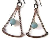 Rustic Bohemian Earrings Handmade Jewelry Pendulum Earrings Green Amazonite Copper Jewelry California USA Handcrafted Artisan Jewelry Design