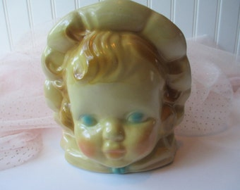 Kitschy Vintage Pastel Baby Head Planter