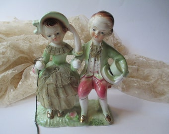 Vintage Figurine Pink and Green Couple - Tea Party Style Cake Topper