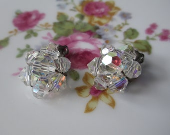 Vintage Aurora Borealis Crystal Cluster Silvertone Clip Earrings