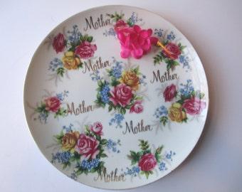 Vintage Norcrest Pink Floral Mother Decorative Plate
