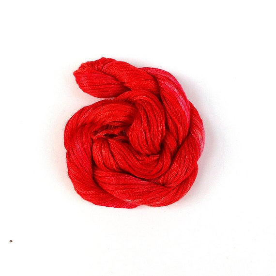 Hand dyed embroidery floss, cross stitch thread, 20m (22 yd) skein, bright red, scarlet, crimson, poppy, fire engine